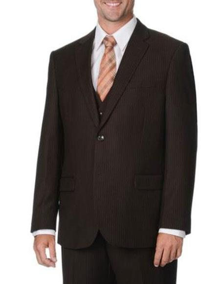 2 Button Style Mini Pinstripe Vested 3 Piece Suits for Online Side Vents brown color shade