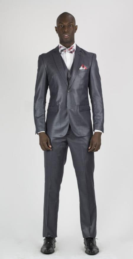RM1620 Center Vent 2 Button Style Suit Charcoal