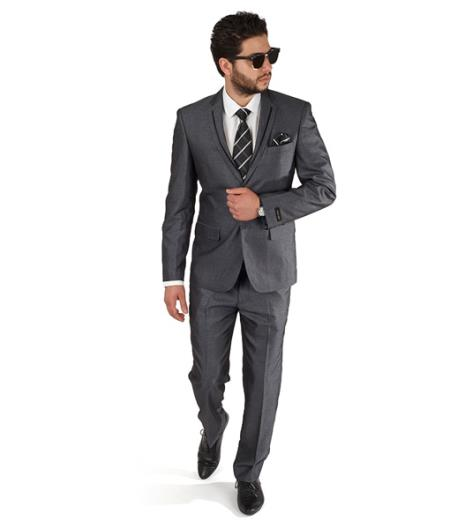 2 Button Style Trim Collar Grey Slim narrow Style Fit Suit / Grey Tuxedo Clearance Sale Online