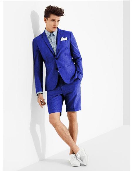 men's summer business suits with shorts pants set (sport coat Looking) Indigo