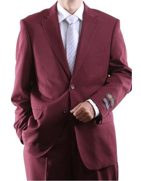 Two Button 2 Button Style Jacket Burgundy ~ Maroon ~ Wine Color Dress Athletic Cut Suits Classic Fit  Side Vent Pleated Slacks Pants