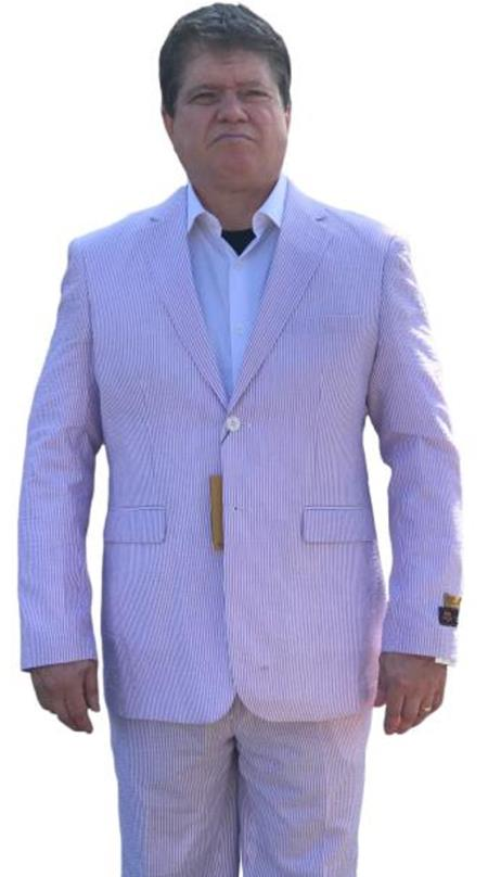 Alberto Nardoni Best men's Italian Suits Brands Lavender Cheap priced men's Seersucker Suit Sale ~ sear sucker Suit 2 button Notch Lapel Flat Front Pants Regular Fit Side Vented / Beach Wedding Attire For Groom