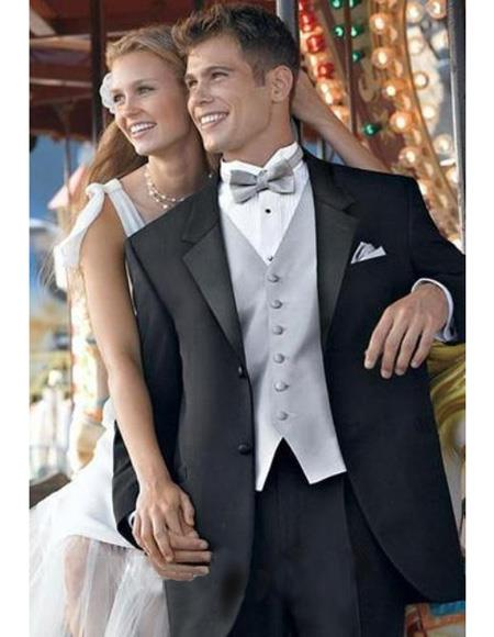 High Quality Umo 2-Button Superior Fabric 120's Wool Fabric Tuxedo Suits for Online + Shirt + Black and Silver Suit  ~ Gray + Bow Tie