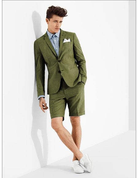 men's summer business suits with shorts pants set (sport coat Looking) Olive