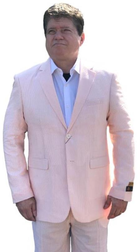 Alberto Nardoni Best men's Italian Suits Brands Orange Cheap priced men's Seersucker Suit Sale ~ sear sucker Suit 2 button Notch Lapel Flat Front Pants Regular Fit Side Vented / Beach Wedding Attire For Groom