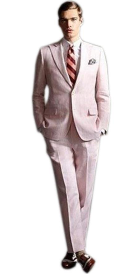 men's high fashion Two Buttons Single Breasted Pink suit