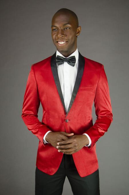 2 Button Style Peak Lapel red color shade Blazer Online Sale Sport Coat Dinner Jacket