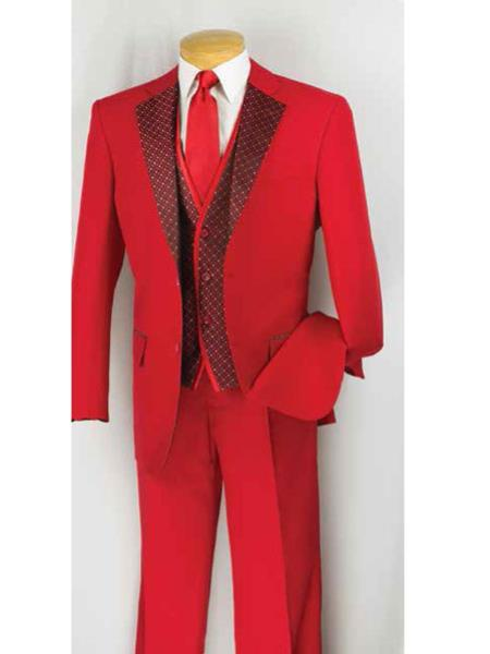 Product# RA10 2 Button Style Suit,Tuxedo Vested 3 Piece Pleated Slacks Pants Notch Collar Red