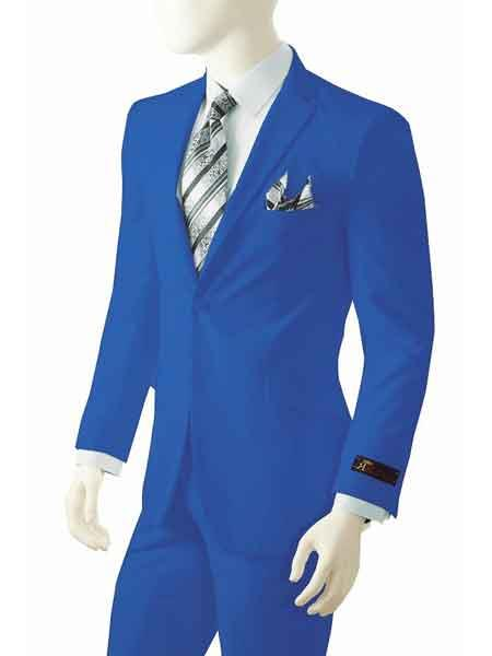 Product# SM778 2 Button Style Notch Lapel Single Breasted Bright Royal Blue Suit For Men Perfect  pastel color Suit