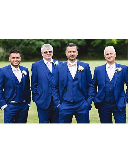 men's Single Breasted 2 Button Royal Blue Suit For Men Perfect  Peak Lapel Vested Suit