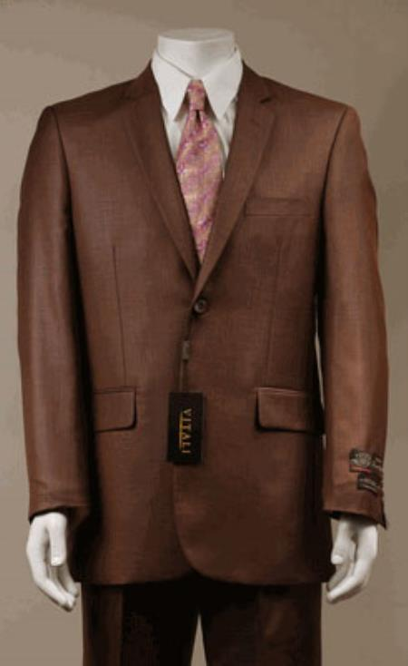 Product# KA9782 Big and Tall Size 56 to 72 2-Button Suit Textured Patterned Sport Coat Fabric Rust