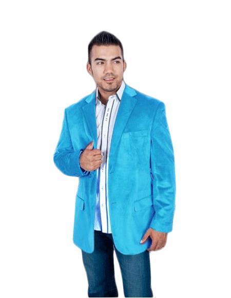 Velvet Blazer - Mens Velvet Jacket Stylish 2 Button Style Sport Jacket Aqua turquoise ~ Light Blue Stage Party Light Blue Discounted Affordable Velvet ~ Velour Sport coat Blazer Online Sale