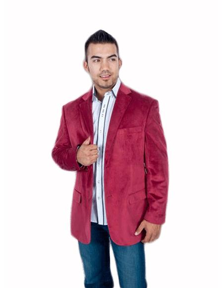 Product# TH5C Stylish 2 Button Style Sport Jacket Burgundy ~ Maroon ~ Wine Color Discounted Affordable Velvet ~ Velour Sport coat Blazer Online Sale