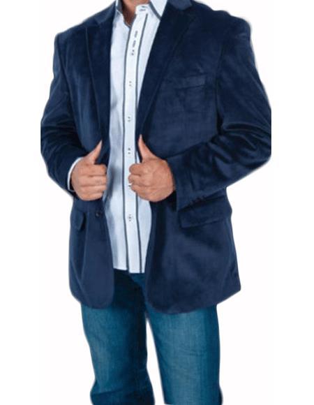 Stylish 2 Button Style Sport Jacket Navy Blue Shade Discounted Affordable Velvet ~ Velour Sport coat Blazer Online Sale