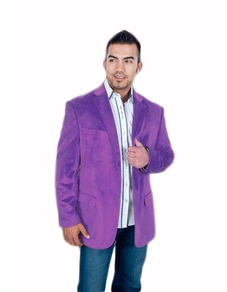 Stylish 2 Button Style Sport Jacket Purple color shade Discounted Affordable Velvet ~ Velour Sport coat Blazer Online Sale