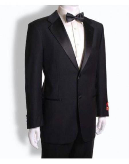 Product# RM1513 Mantoni 2 Button Style Tuxedo Notched Lapel Wool Fabric Dinner Suit Jet Black