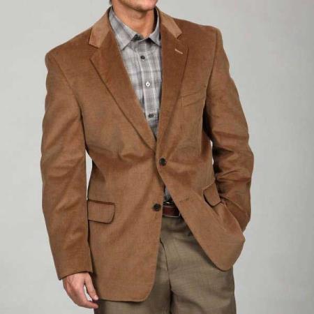 Tan khaki Color Two Button Corduroy Sport Coat