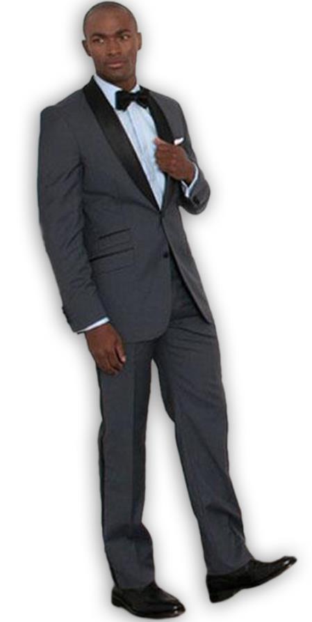 Men's Albert Nardoni Single Breasted Charcoal Slim Fit Shawl Collar 2 Button Tuxedo Jacket
