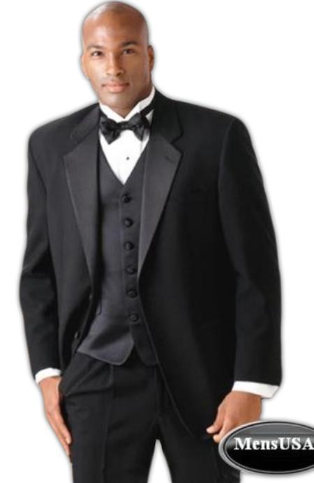 Superior Fabric 140's Wool Fabric 2Button Tuxedo Suit + Vest + Shirt + Bow Tie