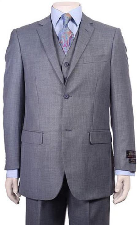 Product# RM1553 Regular Fit Two 2 Button Style Vested Athletic Cut Suits Classic Fit  Jacket + Pants + Vest Pleated Slacks Pants Side Vents With Sheen Sharkskin mini pattern Ocean