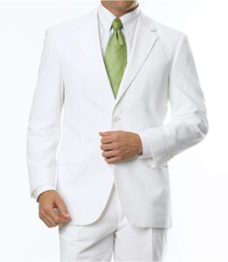 2-Button Summer Cheap priced men's Seersucker Suit Sale Fabric Discounted Online Sale Fit Suit White