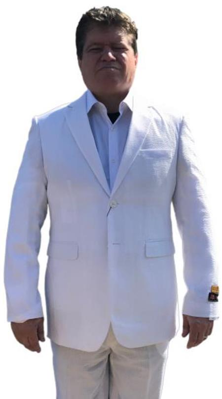 Alberto Nardoni Best men's Italian Suits Brands White & White Cheap priced men's Searsucker Suit ( Jacket and Pants)  For Men 2 button Notch Lapel Flat Front Pants Vented / Beach Wedding Attire For Groom