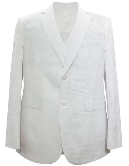 men's Notch Lapel Single Breasted 2 Button White Suit