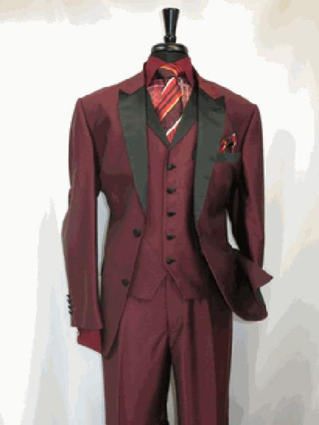 Product# RA21 Suit 2 Button Style Single Breasted Peak Sateen Lapel Two Toned 1920s tuxedo style Wine SharkSkin Clearance Sale Online