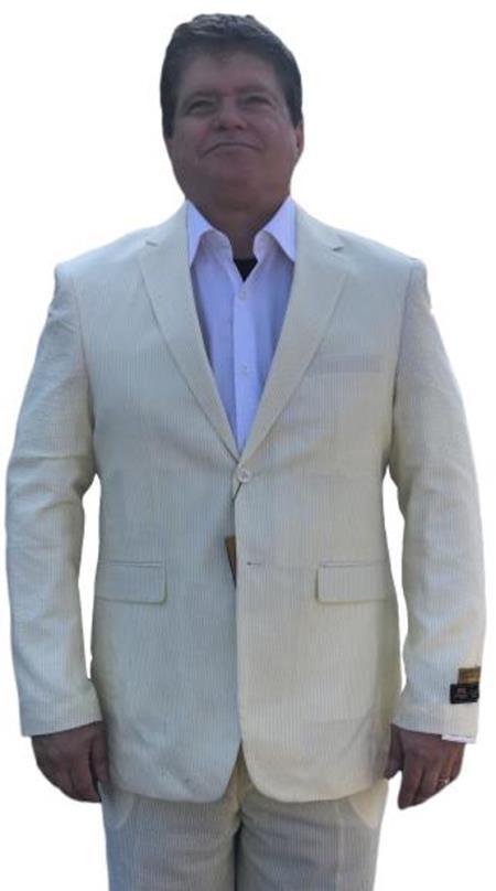 Alberto Nardoni Best men's Italian Suits Brands Yellow ~ Canary Cheap priced men's Seersucker Suit Sale ~ sear sucker Suit 2 button Notch Lapel Flat Front Pants Regular Fit Side Vented / Beach Wedding Attire For Groom