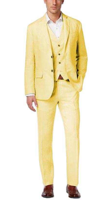 Alberto Nardoni Best men's Italian Suits Brands Summer Linen Fabric Vested Three 3 Piece Suit Jacket + Vest+ Pants + Yellow Color