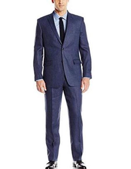 Men's 2 Buttons Linen Fabric Summer Blue Suit Jacket & Pants