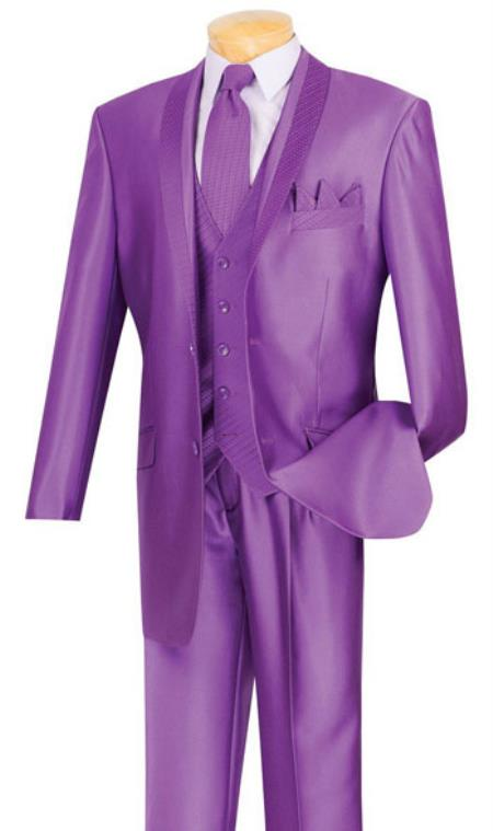 MK841 Shiny Sharkskin Satin Flashy 2 Button Style Purple color shade