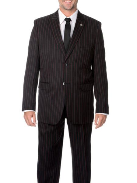 Product# RA07 Two Liquid Jet Black and red color shade Stripe 2 Buttons Style pronounce visible Chalk Pinstripe ~ Stripe Peak Lapel Suit Vested 3 piece Pleated Slacks pants $199