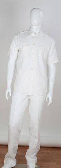 Men's 2 Piece Short Sleeve Stripe Accent White Shirt Double Chest Pockets Men's 2 Piece Linen Causal Outfits Walking Suit / Beach Wedding Attire For Groom - men's All White Linen Suit