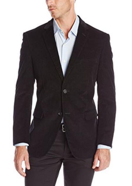 Two-button corduroy Jacket Sport Coat Black