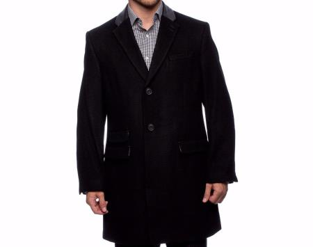 Product# SS-5126 Wool Fabric Single Breasted Center Vent Three Button Solid Coat Liquid Jet Black