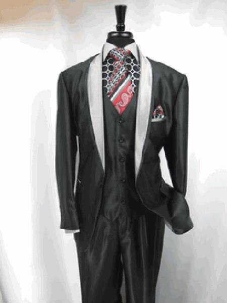 Product# RA20 3 Button Style Two Toned Grey Tuxedo Single Breasted Jacket and Vest Suit Jacket Grey, Black Clearance Sale Online