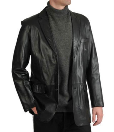 Excelled Notched lapel Lamb Leather Three-Button Blazer Online Sale Liquid Jet Black Available in Big and Tall Sizes