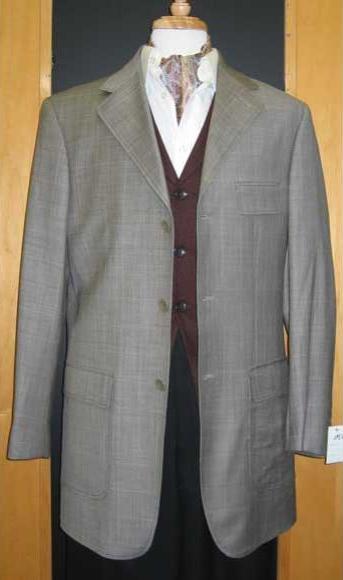3 Buttons Checker Pattern Gray Sport Jacket Blazer Coat