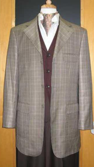 Testardi Brand 3 Buttons Checker Pattern 95% Wool,5% Cashmere Sport Jacket Blazer Grey Coat
