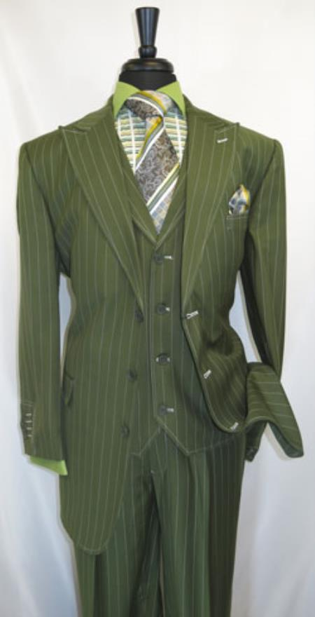 Product# RM1630 Milano Moda Pin Stripe 3 Button Style Single Breasted 1920s 40s Fashion Clothing Look ! 1940s Mens Suits Style For sale ~ Pachuco Mens Suit Perfect for Wedding and Wide Leg Pleated Slacks Pants Olive