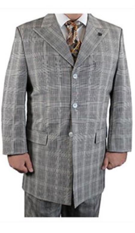 Button Style Suit Plaid