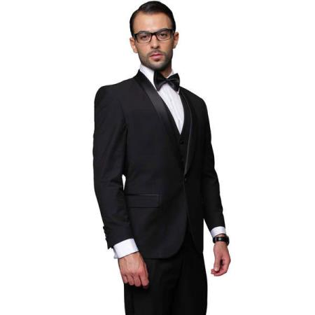 Product# RM1521 Blacked Lapel Two Toned Suit Tux Jacket + Pants & Vest 3-Piece Single Breasted Tuxedo Black Clearance Sale Online
