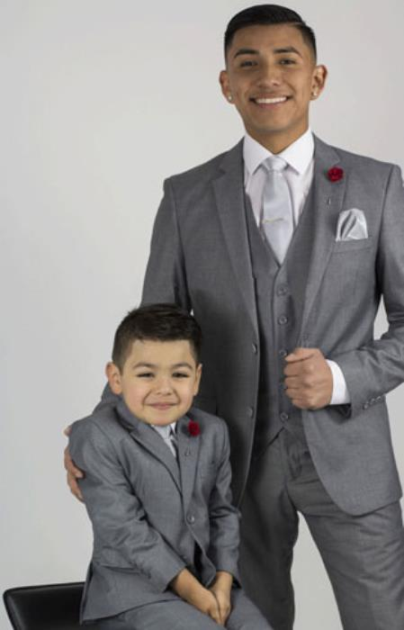 Notch Lapel 3 piece suit Light Grey