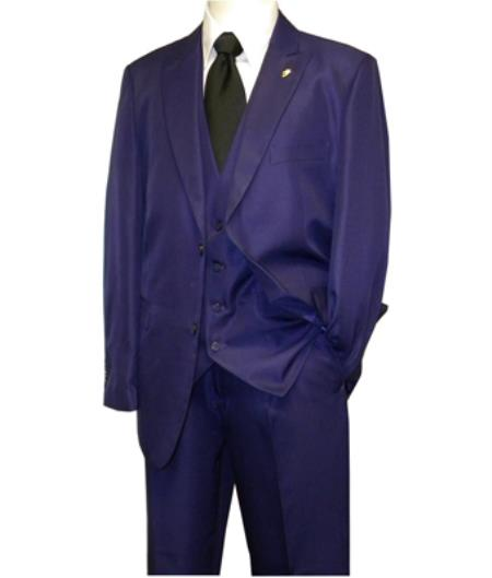 Product# MK422 Falcone Brand 3 Piece Fashion Suit Vett Vested Solid Purple color shade