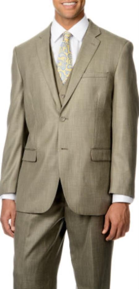 Product# SW925 Caravelli Italy Pleated Slacks Trousers + Shark Pattern 3-Piece Vested Suit Tan khaki Color ~ Beige