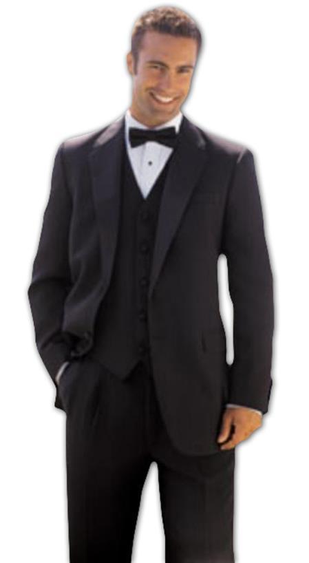 Button Style Solid ~ plain Soft Jacket + Pants + Vest Vested Tuxedo Superior Fabric 150's Wool Fabric Suit + Tuxedo Shirt