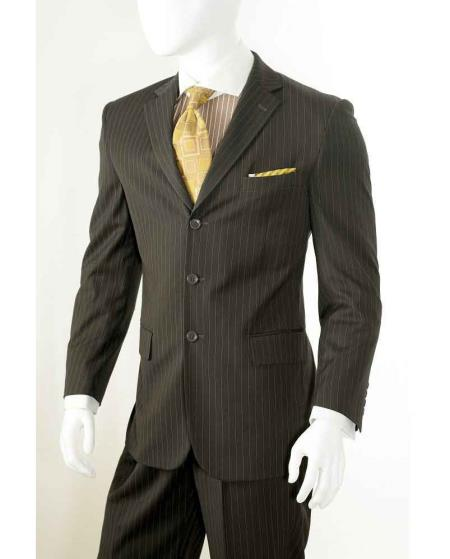 Three button Banker Chalk Pinstripe ~ Stripe Notch Lapel Pleated Slacks Pants Athletic Cut Brown