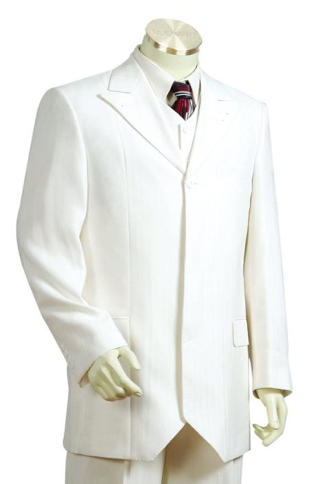 men's Designer Formal 4pc Zoot Shirt and Pants White
