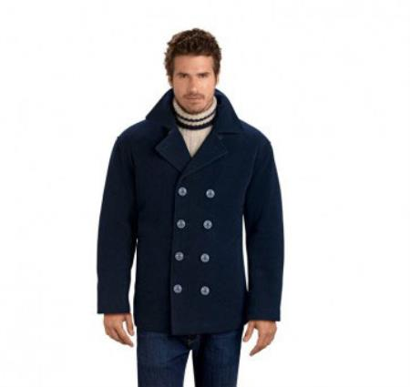 Product# RM1340 Four Button Double Breasted Wool Fabric Pea Coat Navy